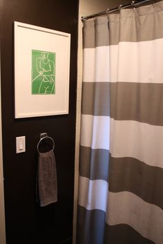 Striped Shower Curtain from West Elm via @Gilda Locicero Therapy