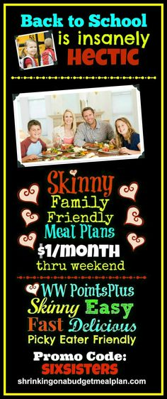 $1/Month Through Sunday Only! Between sports, music practice and homework, Back to School season is a hectic, harried time. Allow us to help make your life a bit easier.  Tame the Back to School chaos with Weight Watchers friendly, Picky Eater approved meal plans.  We'll cover everything you need to know to get Points+ friendly, Family Friendly meals on your family dinner table every night - EASY - and on the cheap.