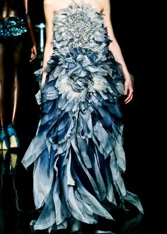 Yiqing Yin Couture F/W 2012 WOW!! how amazing is this design?? and the different shades of blue are beautiful!
