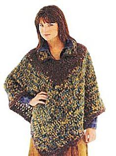 Crochet Suede Trim Poncho