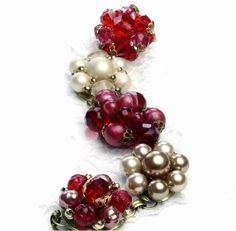upcycled vintage jewelry bracelet $32.50 #christmas #gift #vintage #red http://www.etsy.com/listing/63438514/vintage-jewelry-recycled-lovely-gift-for