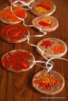 Beautiful Salt Dough Fall Ornament Craft - can do with cookie cutters or silk leaves