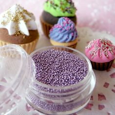 Fake Candy Sprinkles Topping / Faux Candy Sprinkles (Light Purple) (4ml) Miniature Sweets / Dessert / Cake / Cup cake Decoration Nail Art. $1.99, via Etsy.