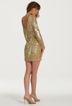 Long Sleeve Short Sequin Dress from Camille La Vie and Group USA modeled by Aliana Lohan #homecoming #homecomingdresses