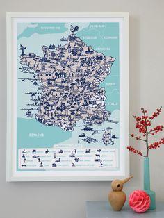 famill summerbell, countri map, world maps, poster, nurseri, france, french fanci, apart idea, illustr