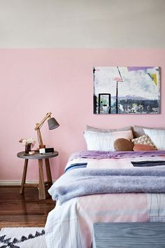 Today's Pin of the Day: we wish we could retire to this perfectly pastel bedroom every night. Love the angular accents too!
