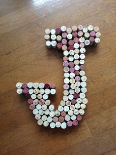 DIY wine cork letter- J for Joseph!  Hot glue gun + wine corks