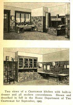 2 Craftsman kitchens 1910's