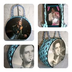 Miss Monster, Custom order, Elvis Record Purse made of two picture discs, blue elvis fabric and blue glitter bamboo-look purse handles.  Contact me at info@miss-monster.com for custom orders.