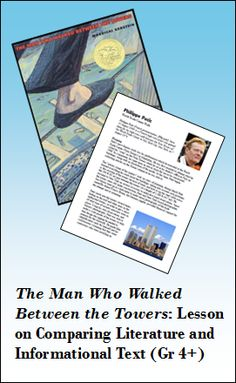 Lesson suggestions and materials for comparing and contrasting informational text and literature. Lesson is based on the book The Man Who Walked Between the Towers and an informational account of the same event.