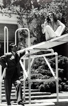 "Cary Grant and Katharine Hepburn on set of ""The Philadelphia Story"", 1940"