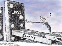 This cartoon illustrates the domino effect that if one country falls, other countries will fall as a consequence.