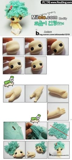How to make cute, curly doll's hair from old unraveled sweaters or knitwear (from polymer clay blog)