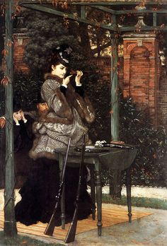 At the Rifle Range (c. 1869) by Tissot. #Victorian #classic #art #painting