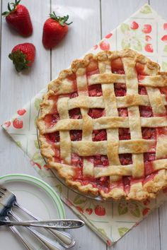 Classic Strawberry Rhubarb Pie via The Baker Chick