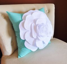 White Rose Flower on Bright Aqua Pillow Decorative by bedbuggs