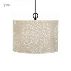 """White Scroll Linen Pendant Chandelier from Laura of Pembroke. To order, email sales@lauraofpembroke.com. LOP1D (15""""DIA x 10""""H). Our Price: $198"""