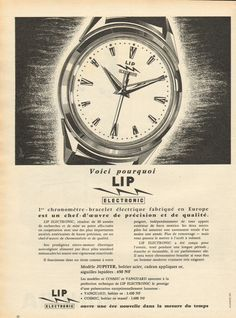 Publicité 1960 Montre LIP Electronic