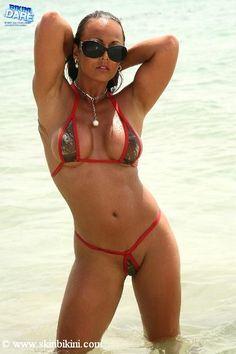 BY-011R Red Metallic Mini See-Thru Teardrop G-String Bikini