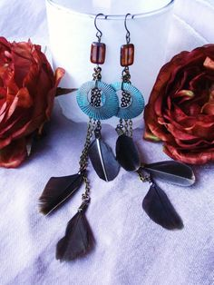 SALE Bohemian Gypsy Verdigris Earrings with by siphonophoria, $17.00
