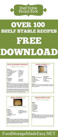 Need some good food storage recipes to add to your collection? Download this free recipe book for over 100 recipes that can be made completely out of items in your pantry!