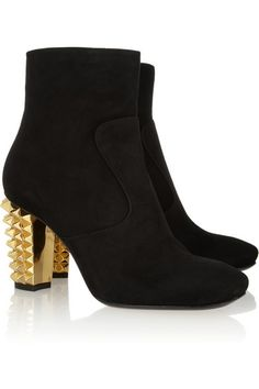#Fendi black suede ankle #boots with studded #gold heel. #shoes #fashion