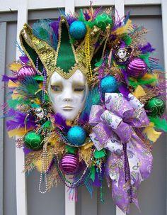 Mardi Gras Wreath with Venetian Mask...