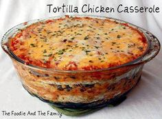 ~~ Tortilla Chicken Casserole ~~  Makes 12 servings Ingredients  8 multigrain flour tortillas 3 cups chopped chicken 1 tablespoon olive oil 1 cup chopped onion 1 cup chopped red pepper 19oz black beans 14oz canned corn 1 tsp chili powder 3 cups salsa 1 1/2 cups sour cream 1 1/2 cup jalapeno monterey jack cheese, shredded 1 1/2 cup cheddar cheese, shredded 1 tablespoons finely chopped cilantro