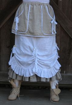 washed linen apron skirt in natural, Like the white skirt detail