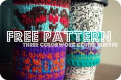Free Coffee Cozy Pattern (Love Birds and Snowflakes)