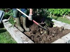 Trench composting in raised bed