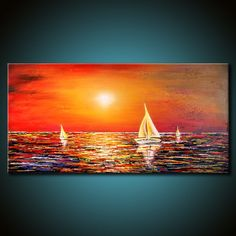 MADE TO ORDER Original Nautical Painting 48x24 Canvas Acrylic Sail Boats Sunset Beach Abstract Fine Art by Federico Farias