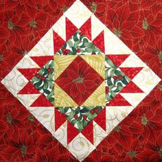 Jingle Quilt BOM, Pieced Block No. 2 with poinsettia fabric | cheeky cognoscenti.  BOM by Erin Russek