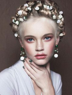 rose, hairmakeup, braid, hair makeup, hairstyl, beauty, little flowers, flower hair, floral crowns
