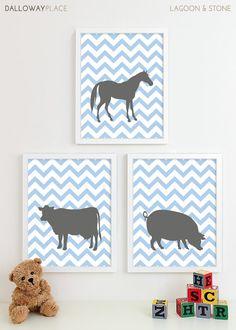 Chevron Baby Nursery Art, Farm Animal Nursery Art Prints, Horse Pig Cow Kids Wall Art Kids Room Farm Baby Nursery Decor - Three 11x14 on Etsy, $50.00