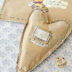 Kraft paper heart with seamed edges. Somerset Life Summer 2014 - Stampington  Company