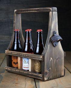 Handmade Beer Carrier Beer Tote Wooden Craft Beer Natural Reclaimed Reused Cedar Wood Dark Espresso Stain with a Soft Curve 6-12 oz bottles on Etsy, $39.99