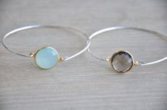 Precious Stone Sterling Silver Bangle by GoldenPlumeJewelry, $46.00