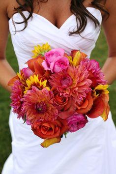 fiery summer wedding bouquet