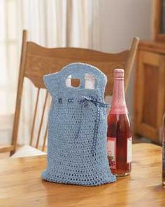 Adri-Reusable Crochet wine Gift Bag