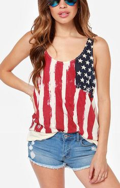American Flag Pattern Printing O-neck Chiffon Vest