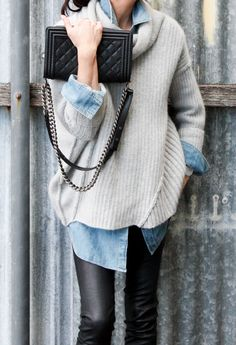 Fifideluxe pairs a knit sweater with J BRAND's denim blouse.