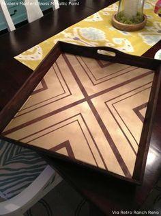 Brass Metallic Paint on Geometric Patterned Tray | Retro Ranch Reno Project