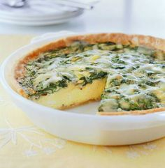 Low-fat Spinach and Gruyere Quiche: http://www.midwestliving.com/recipe/spinach-and-gruyere-quiche/