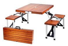 PORTABLE WOODEN PICNIC TABLE WITH STORAGE CASE