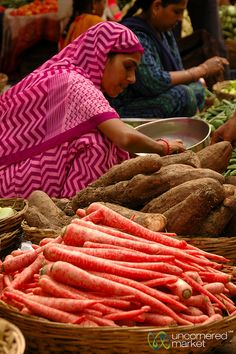 Carrots at the Market in Udaipur , India