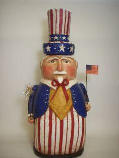 Uncle Sam Paper Mache Folk Art Bank by papiermoonprimitives