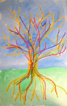 """Continuing with our discussion about trees, we created oil pastel and watercolor paintings by drawing the letter """"Y"""" as the branches of the fall tree to create the effect of a tree without its leaves."""
