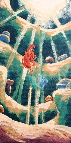 Custom 2x4 Disney Princess Canvas by SavannaRodriguez on Etsy. because the little mermaid is my favorite!