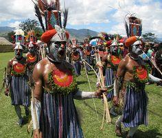 New Guinea Highland Warrior Procession